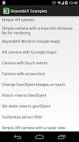 Screenshot of BeyondAR Examples API