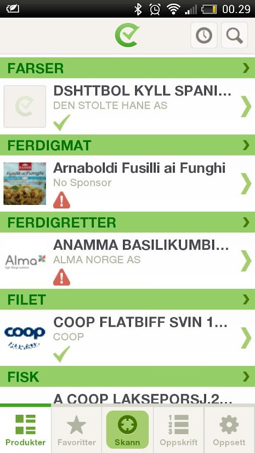 Sjekk matvaren for allergier- screenshot