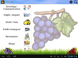 Screenshot of Learning Italian (Phrasebook)
