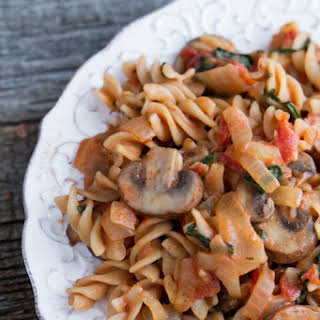 Quick and Easy Creamy Tomato Mushroom Pasta.