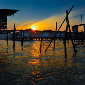 Village Sunrise by David Cheok - Landscapes Sunsets & Sunrises ( water, sky, village, sunrise, brunei,  )
