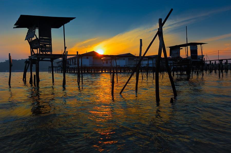 Village Sunrise by David Cheok - Landscapes Sunsets & Sunrises ( water, sky, village, sunrise, brunei,  )