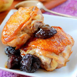 Crispy Chicken Thighs with Prunes.