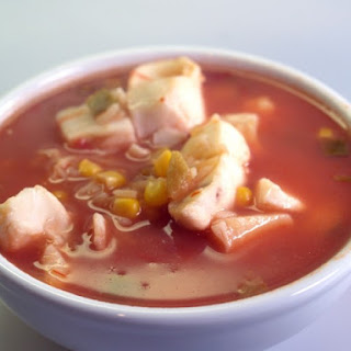 Tex-Mex Seafood Chowder Soup With Corn.