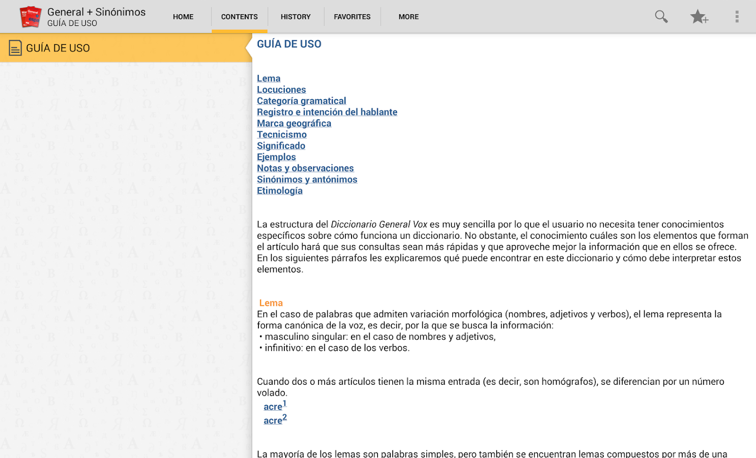 VOX General Spanish +Thesaurus - screenshot