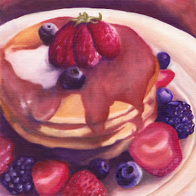 Pancakes by Veronica Blazewicz - Painting All Painting ( still life, food, breakfast, art, pancakes, oil painting, painting, artwork )