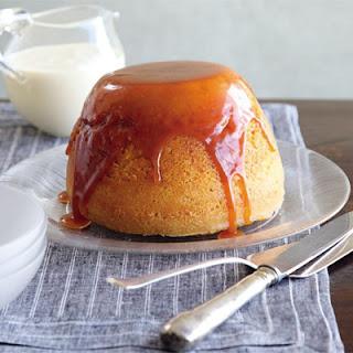 Steamed Vanilla Sponge with Butterscotch Sauce & Custard Recipe