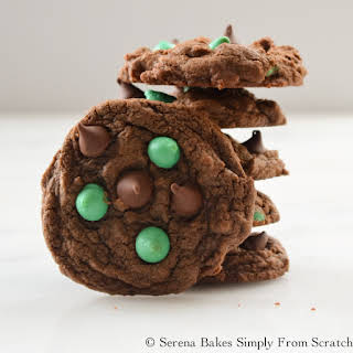 Double Chocolate Mint Chip Cookies.