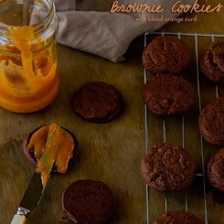 Chocolate Orange Brownie Cookies with Blood Orange Curd