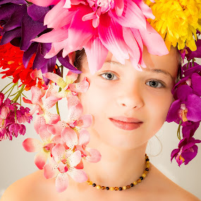 Flower Girl by Vaidotas Maneikis - Babies & Children Child Portraits ( fashion, children, flowers, portrait, flower, , colorful, mood factory, vibrant, happiness, January, moods, emotions, inspiration )