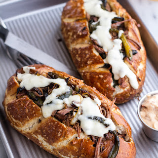 Cleveland Cheesesteaks with Pretzel Hoagie Rolls.