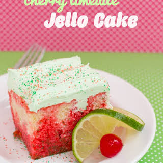 Cherry Limeade Jello Cake.