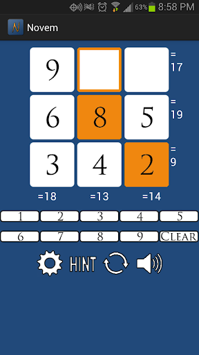 Novem: A Number Puzzle Game