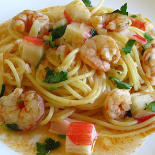 Spaghetti With Shrimps And Seafood Delights.