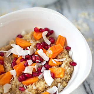 Quinoa Breakfast Bowl with Coconut Flakes, Pomegranate Seeds & Persimmons