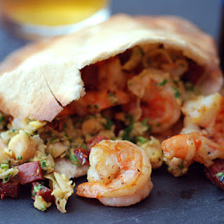 Chickpea, Shrimp, and Chorizo Pita Sandwiches.