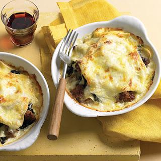 Individual Swiss Chard and Italian Sausage Lasagna.