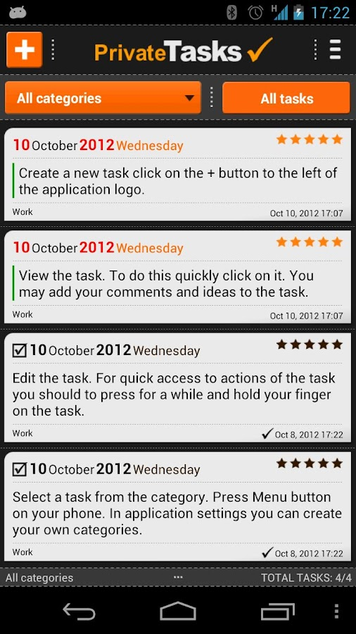 ToDo list - Private Tasks - screenshot