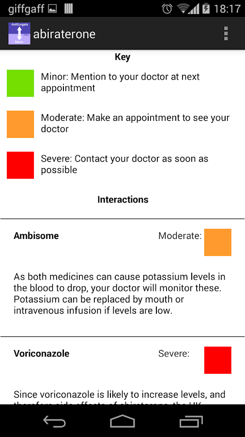 Antifungal Interaction Patient- screenshot