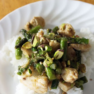 Ginger Chicken & Asparagus Stirfry with Pistachios