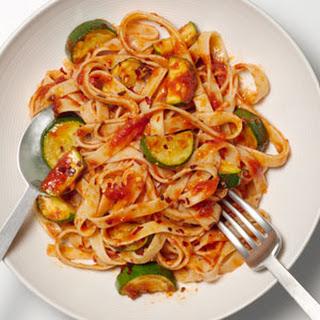 Fettuccine With Spicy Zucchini-Tomato Sauce.
