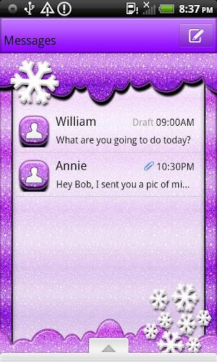 GO SMS THEME GlitterSnowFlak