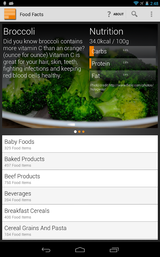 Food, Calories and Nutrition- screenshot
