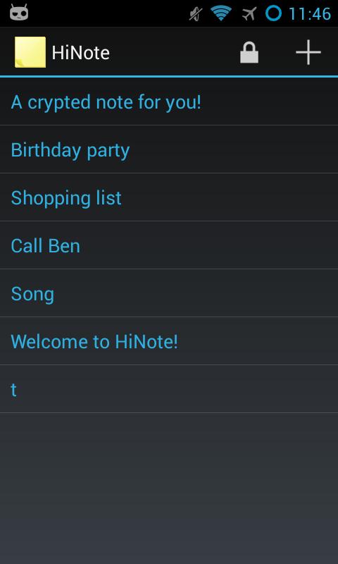 HiNote Hidden Notes - screenshot