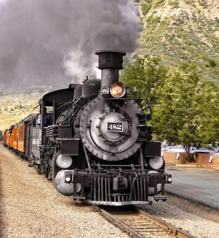 Pulling out of the station in Durango by Sandy Scott - Transportation Trains ( steam locomotive, durango colorado, narrow gauge railroad, railroad, antique trains, colorado, transportation, railway travel,  )