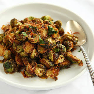 Fried Brussels Sprouts with Shallots, and Chilies.