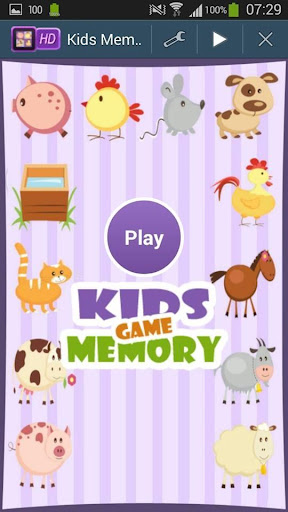 Farm Animals Kids Memory Game