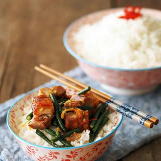 Twice cooked Asian Pork Belly, Snake Beans & Orange Caramel Sauce