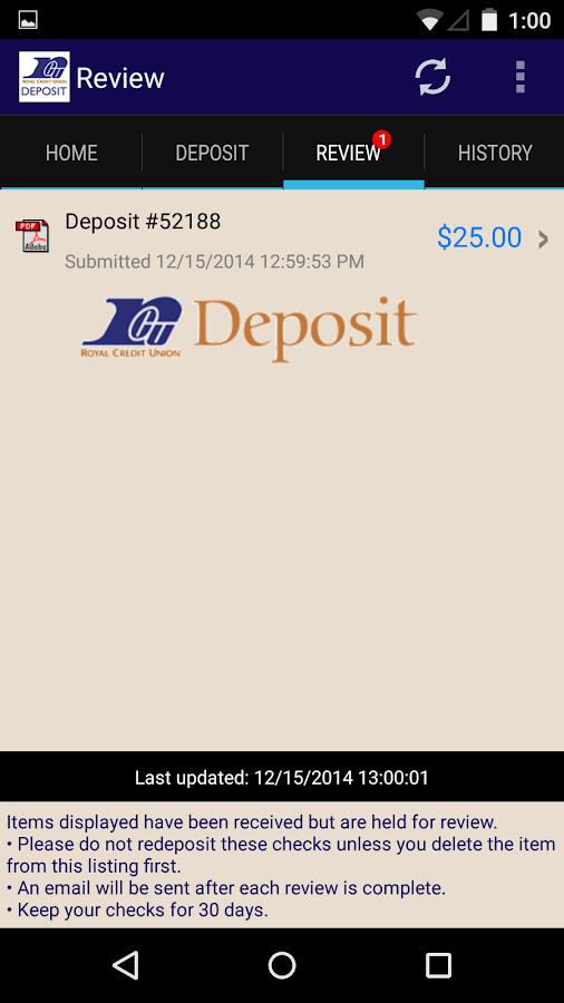RCU Deposit - screenshot