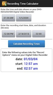 Recording Time Calculator- screenshot thumbnail