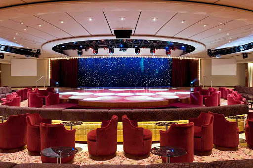 Enrichment-Entertainment-Galaxy-Lounge-on-Crystal-Symphony - Galaxy Lounge on the Crystal Symphony offers cozy tables and live entertainment.