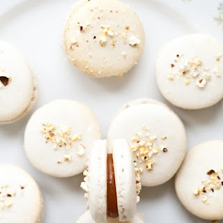 Popcorn Macaron with Salted Caramel Filling
