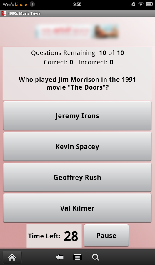 1990s Music Trivia- screenshot