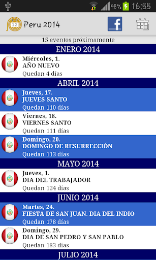 Calendario Feriados Peru