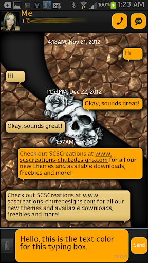 GO SMS - Rose Skulls 2