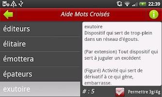 Screenshot of Aide mots croisés / fléchés