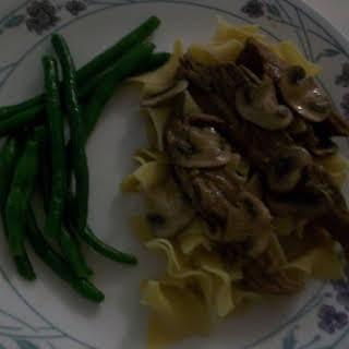 Juicy Slow Cooker Flank Steak In Mushroom Sauce.