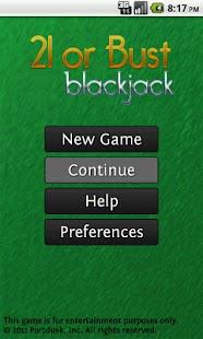 21 or Bust Blackjack
