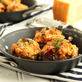 Sweet and Spicy Sausage Stuffed Mushrooms.