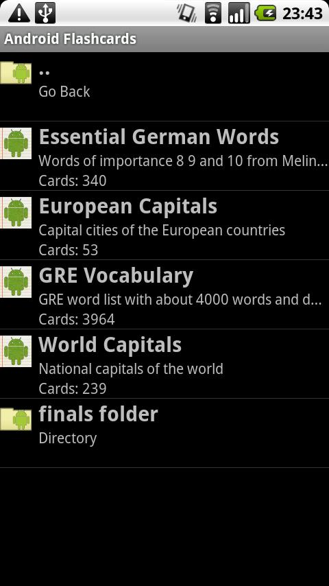 Android Flashcards - screenshot
