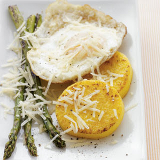 Polenta Fritters with Asparagus & Eggs.