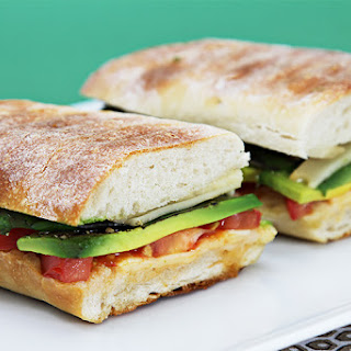 Smoked Provolone Panini With Tomato, Avocado And Basil