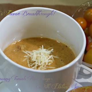 Creamy Tomato Rice Soup with Italian Sausage!