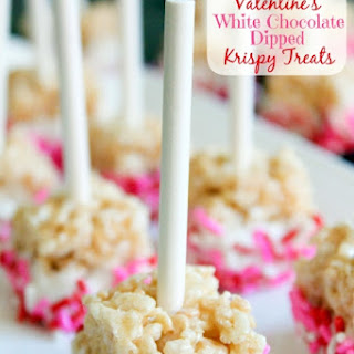 Valentine's White Chocolate Dipped Krispy Treats