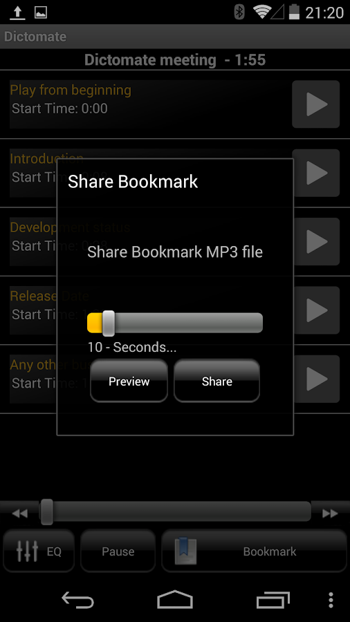 Dictomate - MP3 Voice Recorder - screenshot