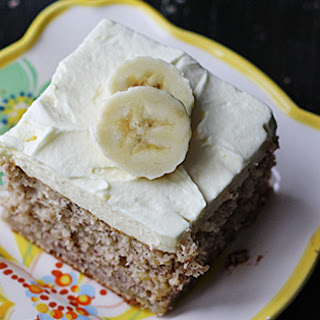 Easy Banana Cake with Banana Whipped Cream Frosting.